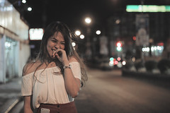 (iwidesiderio) Tags: girl cute pretty pinay filipina asian bokeh night lights candid smile grin portraiture woman nightshot circles lines cine tweak color street philippines pilipinas canon eos 1200d 50mm