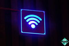 The Fifth Basic Need (shamahzoha) Tags: wifi sign logo design colors blue fancy urban technology symbol bars neon wooden panel abstract vibrant beautiful postprocessed slidersunday