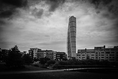 Turning Torso (Johnny H G) Tags: architecture building blackandwhite monochrome johnnyhg turningtorso sweden malmø sky clouds outdoor bridge
