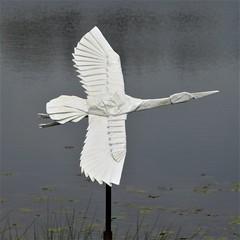Lisle, IL, Morton Arboretum, Meadow Lake, Origami in the Park, Migrating Peace Sculpture (Mary Warren (8.7+ Million Views)) Tags: lisleil mortonarboretum origamiinthepark art sculpture metal origami white bird
