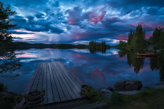 Blues (lonekheir) Tags: jetty norge norway forest trees boat wooden blue