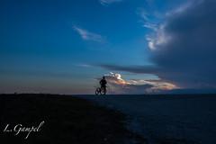 Biker watching dramatic sunset (Lgampel) Tags: blue silhouettes sunset everglades sky rivergrass outdoors clouds florida biker panorama drone nature view sun hour
