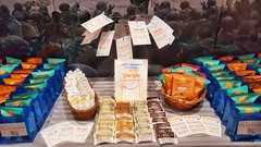 War for the Planet of the Apes Table Display (The Pop Bag) Tags: newyorktimes film club justins banana chip snack pack peanutbutter dip emmysorganics glutenfree vegan organic nongmo coconut cookies healthy delicious yummy tasty nutritious bandarfoods naanchips chips garlic tikkamasala himalayan pink salt fun exciting amazing warfortheplanet warfortheplanetoftheapes movie event nyc popbag thepopbag