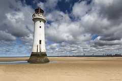A chance to get out! (andyrousephotography) Tags: perchrock newbrighton wirral lighthouse beach sand sea lowtide sunny sunshine clouds blue skies static warm sun midday dayout flickr flickrites togs andyrouse canon eos 5d mkiii ef24105mmf4l