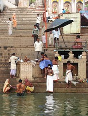 varanasi 2008 (gerben more) Tags: ghat shirtless men water ganges ganga hinduism shrine river prayer ritualbathing ritual india varanasi benares