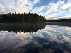 Mikkeli, Finland - no filters as absolutely none needed (Richard Whitaker) Tags: reflection forest cloud sky jetty evening sunset lily water tree sauna lake mikkeli suomi finland