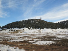 Hill with antennas, edge of snow fields, Middle Atlas near Azrou, Morocco (Paul McClure DC) Tags: middleatlas morocco jan2017 almaghrib ifrane azrou mountains winter scenery snow northafrica