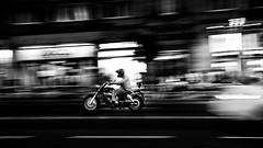 Motorcycle Rider in Madrid (Alex&HisNikon) Tags: motorcycle bike panning night handheld bw nikond750 spain madrid