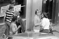 h42-68 09 (ndpa / s. lundeen, archivist) Tags: nick dewolf nickdewolf bw blackwhite photographbynickdewolf film monochrome blackandwhite city summer 1968 1960s 35mm boston massachusetts candid streetphotography citylife streetlife people beaconhill charlesstreet sidewalk pedestrian youngpeople july sunday weekend july28 pedestrians storefront business car vehicle automobile parkedcar woman youngwoman man youngman men youngmen window storewindow restaurant sign signs special specials charlesstreetsteakhouse bike bicycle door blond blonde choppedsirloin 149 glasses sunglasses shades brunette black africanamerican longhair eyeglasses