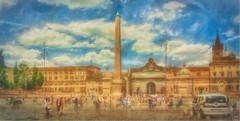 """When in Rome #27 """"Piazza del Popolo"""" [Explored] (Leigh - """"Alive and Clicking!"""") Tags: rome piazzadelpopolo painterly italy"""