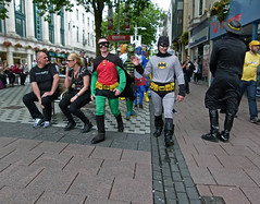 'World saved, ....pub!' (Andy WXx2009) Tags: people streetphotography men women candid walking masks cardiff outdoors wales urban europe robin batman superhero cosplay costumes fancydress colours sidewalk shopping crowd