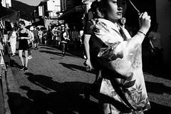 Kyoto (Scott F Thompson) Tags: kyoto streetphotography blackandwhiite girl kimono eyecontact japan culture candid