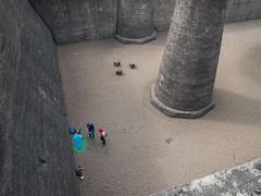 P7030895 (mkreibohm) Tags: street people duisburg landschaftsparknord industrial architecture columns pillars brutalism concrete climbers climbing
