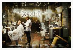 Barbershop (Dave Fieldhouse Photography) Tags: birmingham streetphotography street barbers barbershop shop shopfront style cool people portrait stylist reflections commercial splittone retro fuji fujifilm fujinon35mmf2 fujixpro2 wwwdavefieldhousephotographycom