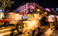 The flow @crossing (Phg Voyager) Tags: buildings night longexposure china shanghai phgvoyager asia city crowdy people street red color outdoor leica mp 18 mm urban walk boys girls bund urbanscape crossing crowd fun car zebra pink ghost shadows fuzzy