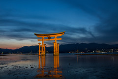 Miyajima, The great Torii (Nadialeesi) Tags: miyajima hiroshima japan asia spring travel travelphotography bluehour sunset sundown beauty tori redtori sky sea ocean canon canoneos7d wanderlust wonderlust torii redgate thegreattorii