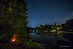 Camp fire & Big Dipper (sugarzebra) Tags: nightsky night canon rokinon cottage muskoka fire campfire beach river reflection bigdipper constellation embers