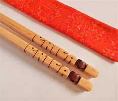 Personalized Chopsticks, Maple with Bloodwood Hearts (DustyNewt Scott) Tags: chopsticks wood wooden woodworking name handmade eating utensils chinesefood japanesefood sushi food custom personalized maple erica heart bloodwood