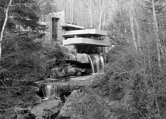Falling Water in Black and White (Nikon Blair) Tags: travel franklloydwright fallingwater architecture