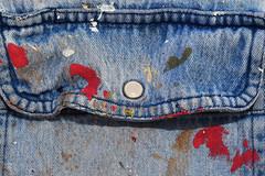 20170718 Workshirt (Robert Harwood) Tags: blue denim pocket work shirt victoria oakbay britishcolumbia vancouverisland paint splatters macro