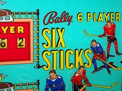 Six Sticks (scottamus) Tags: pinball machine game table arcade backbox translite backglass art artwork graphics design sixsticks bally 1965