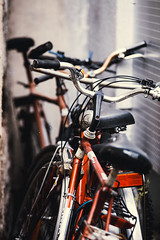 Bike Lair (Thomas Listl) Tags: thomaslistl color bike bikes bicycle red tones row focus dof urban wall narrow sattle spiderweb