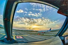 Waiting for our turn (mikeyp2000) Tags: rays hdr fisheye waiting landing sunset plane aircraft