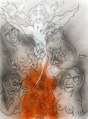 LE RETOUR DE LA CRÉMATION (Claude Bolduc) Tags: dessin drawing artsingulier visionaryart intuitiveart lowbrow artbrut surrealism