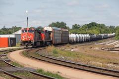 CN 2279 - M394 (railroadcndr) Tags: cn cnr canadiannational cndundassub brantford ontario canada cnbrantford cnsimpson cnm394 cn2279 ge es44dc freight train engine locomotive track tracks railroad railway station signal switch siding yard derail