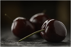Macro Mondays - Three - 3 Cherries ( in Explore 25th July 2017) (andymoore732) Tags: macromondays macro mondays three cherries red naturallighting artificiallight andymoore colour nikon d500 afs vr micronikkor 105mm f28gifed challenge theme flickr