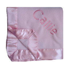 Pink Fleece Baby Blanket (initial_impressions) Tags: embroidered personalized pinkfleeceblanketwithsatinedge