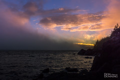 Fog Rolling Into the Sunset (Don Dunning) Tags: britishcolumbia canada canadianprovince clouds dusk evening fog mist ocean straitofjuandefuca sunset vancouverisland water