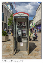 Grffiti Phone Box (Paul Simpson Photography) Tags: sheffield city citycentre southyorkshire imageof imagesof photoof photosof paulsimpsonphotography sonya77 sonyphotography july2017 urban urbanexploration phonebooth phonebox bt telecom