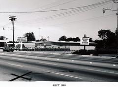 Menlo Park 1968: El Camino Real, East Side (menloparkplanning) Tags: mp1968downtownecr menlopark elcaminoreal sanmateocounty california historicalphoto historical scannedphoto downtown 1968 shepardusedcars ericksenpethospital cardealership