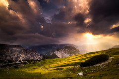 Just for a few seconds.... (Croosterpix) Tags: light sky sun sunray mountains landscape dolomites dolomiti clouds nature
