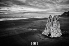 Waverley Beach (Dervish Images) Tags: dervishimages russdixon monochrome mono bw blackandwhite infrared ir newzealand taranaki beach landscape seascape stormysky 720nm fujixe1 ultrawideangle
