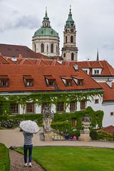 Mala Strada garden (jmarnaud) Tags: czech 2017 prague mala strana summer garden walk old building city statue tree church akiko