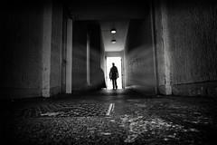 tunnel walker (Daz Smith) Tags: dazsmith fujixt20 fuji xt20 andwhite bath city streetphotography people candid portrait citylife thecity urban streets uk monochrome blancoynegro blackandwhite mono tunnel light rays white man walking