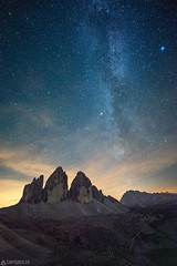 Tre Cime at night - Dolomites (Captures.ch) Tags: clouds orange red white whitnight black perfect galaxy milkyway mountains blue landscape stars nature capture italy dreizinnen august july 2017 travel dolomiten