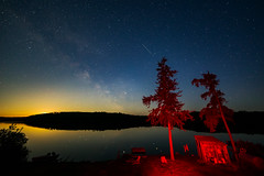 Fish Camp Moonrise (matthewkaz) Tags: zigzag zigzaglake night astronomy milkyway stars astrophotography dark moon moonrise sky lake water reflection reflections cleaningshed trees lightpainting fishcamp fishing wildernessnorth silhouette ontario canada 2017