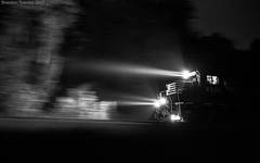 Into the Night (Brandon Townley) Tags: trains railroad ns norfolksouthern night pac speed lucasville ohio bandw bw blackandwhite lights headlights art exposure shadows
