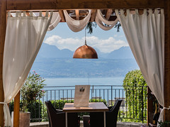 The ultimate View - the Place to be (*Capture the Moment* (back 4 September)) Tags: 2017 berge blick genfersee himmel lacleman lake lamp lampe landschaften mountains restaurant see sky sonye18200mmoss sonynex7 view