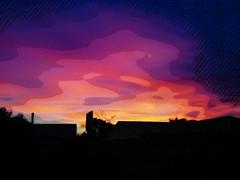 Sunset Silhouettes (Steve Taylor (Photography)) Tags: basketballhoop chimney art digital house blue black mauve pastel pink purple newzealand nz southisland canterbury christchurch northnewbrighton tree silhouette texture sunset twilight autumn cloud sky