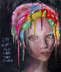 Life Hurts Alot More Than Death (Silje Roos) Tags: photography photo photos portrait photographys picture pink people pretty pale pastel pro pinkhair purplehair purple photograph paint painting pintura paintings pastelhair pastelpink art arte arts acrylics acrylicpainting acryl acrylic acrylicpaint watercolor watercolour skin tone beauty makeup skjønnhet norway norge norsk norwegian artist eyes green blue red life hurts alot more than death