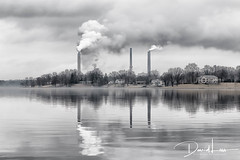 Relfections on coal (david_law44) Tags: cwlp springfield illinois coal power plan lake reflection smoke clouds calm water electricity steam powered turbines grid energy