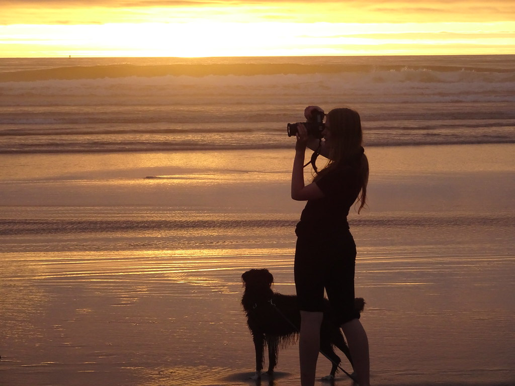 photographer and dog south beach newport oregon