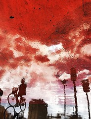 Fire in the sky (Birdhouse camper) Tags: copenhagen denmark reflection red shotoniphone6s street silhouette bicycle sky iphone iphone6s light