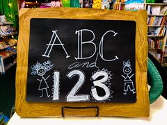Blackboard (Thad Zajdowicz) Tags: blackboard chalk letters numbers zajdowicz southpasadena usa california store toy indoor inside availablelight cellphone photoshop motorola droid turbo smartphone mobile cameraphone school sign bokeh depthoffield