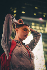 Back to School (Celeste Martearena) Tags: approved celestemartearena times square fashion editorial eliana bertolusso back school lights night nightlife nightlight new york nyc manhattan street beauty model red lips woman colors