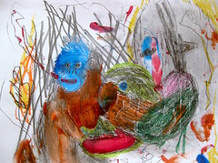 Emergent Sympathies (giveawayboy) Tags: pencil crayon drawing sketch art acrylic paint painting fch tampa artist giveawayboy billrogers emergent sympathies monkey parrot monster wmotf